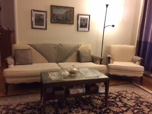 Antique Sofa, a chair and a Table