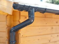 Plastic guttering kit for shed roof   Available in brown, grey, black, anthracite and white