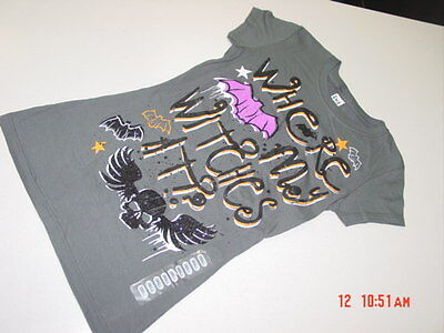 NWT Junior Girls Graphic Tee Shirt Halloween Witches Skulls Glitter Bats Unique - Unique Halloween Shirts