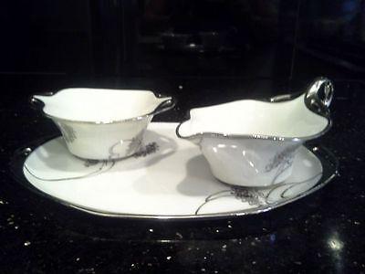 Vintage Art Nouveau/Japanese Influenced RS Porcelain Creamer/Sugar and Tray Set