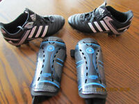 Adidas youth 13 soccer shoes/ Mission shin pads