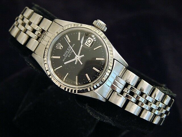 Vintage Rolex Date Ladies Stainless Steel & 18k White Gold Watch Black Dial 6517