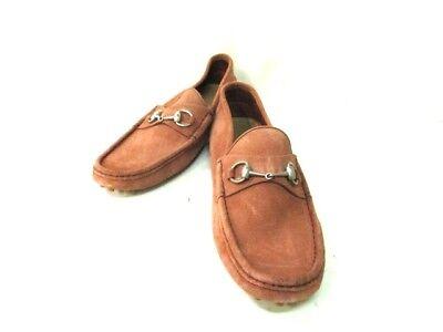 Auth GUCCI Horsebit Beige Suede Shoes Men
