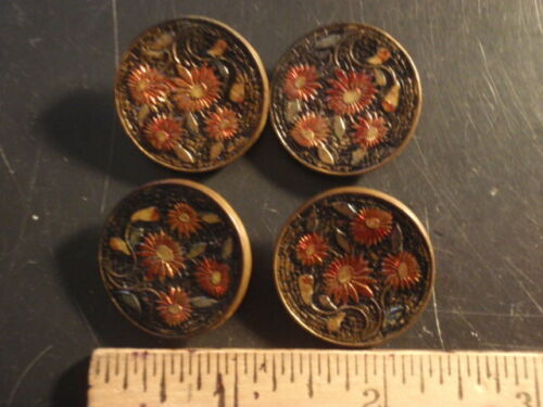 4 Unusual Metal Clothing Buttons, Vintage