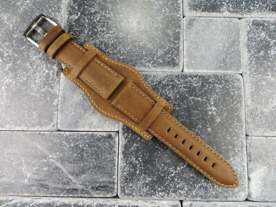 German Military Aviator Watch Strap Army Leather Cuff Watch Band Bund Brown BR