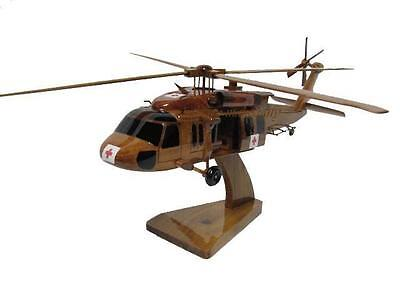 UH-60 UH-60A L Blackhawk Dustoff Medevac Helicopter Mahogany Wood Wooden Model, used for sale  USA