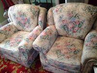 Two armchairs in good condition - floral, cottage style.