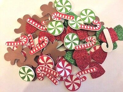 70+ Christmas Self Adhesive Foam Shapes Gingerbread gumdrops candy canes glitter
