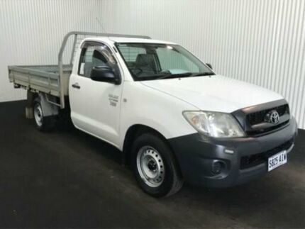 2010 Toyota Hilux TGN16R MY11 Upgrade Workmate Glacier White 4 Speed Automatic Cab Chassis