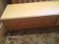 Underbed pine double drawer