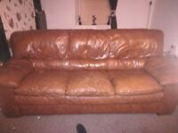 2 seater and 3 seater sofas brown leather