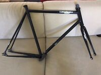 MBA black chromoly track bike frame, 60cm, with semi-integrated headset included