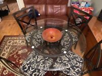 Glass dining table and 4 upholstered chairs solid quality
