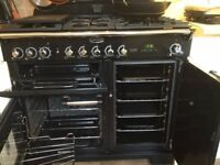 Rangemaster Classic 100 Deluxe Cooker. Black with chrome handles. Lymington.