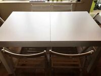 ikea bjursta extendable table white 140/180/220 x 84 cm and 6 ikea terje white folding chairs