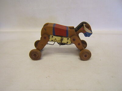Donkey Pull Toy - Vintage Wood Wind Up Donkey Pull Toy Early Japan Working PAT NO 120377 fs