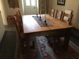 Farmhouse Kitchen Dining Table together with 6 chairs
