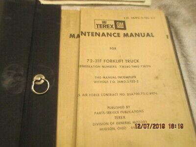 Vintage Vietnam Era Air Force Maintenance Manual Terex Gm Forklift Lift Truck