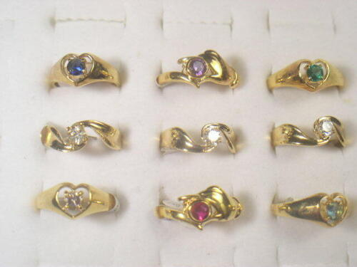 9. . DESIGNER  DOLPHIN ORE RINGS VINTAGE WITH SWAROVSKI CRYSTALS LOT 217UP