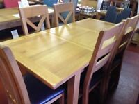 New & Boxed Salisbury Erne Oak Small 5ft Extending 4-6 seat dining table & 6 oak chairs £899