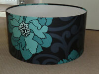 Large Retro Pattern Lampshade - Teal & Black - Suitable for a Standard/Floor Lamp