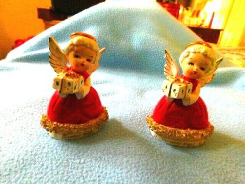 VINTAGE 2 DECEMBER CERAMIC ANGEL FIGURINES - MADE IN JAPAN- 4 TALL