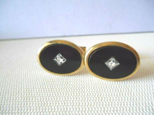 Vintage Goldtone & Black Oval Clear Stone Cufflinks