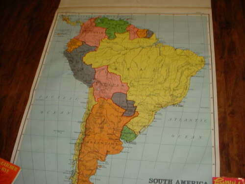 VINTAGE A.J. NYSTROM PULL DOWN MAP  SOUTH AMERICA   EDITION 1944