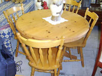Lovely pine extendable table and four chairs