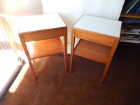 Pair of 1970's Vintage Remploy bedside tables with drawers in good condition.