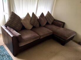 Large chaise/corner sofa - brown leather/fabric