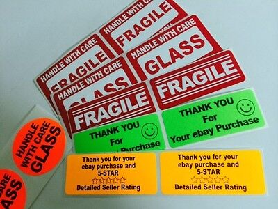 150 Label Fragile Glass Sample Pack Labels 150 Stickers Greenorange Red New