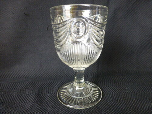 Flint Antique Lincoln Drape Early American Pattern Glass Goblet #1