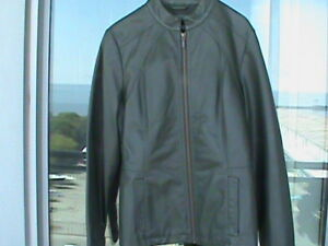 Ladies Hunter Green Faux Leather Jacket- Size Small