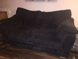DFS jumbo cord 2 seater sofa bed, cuddle chair and footstool