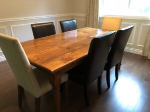 DINING TABLE with 4 LEATHER & 2 UPHOLSTERED CHAIRS
