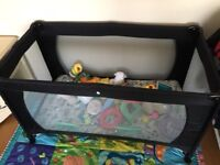 Babyway Classic Newborn Travel Cot Playpen With Mattress And Carry Bag - Black