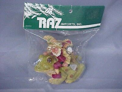 RAZ Imports Ornament ELF wChristmas Clothes RIDING FROG New In Package