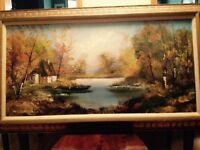 European cottage painting by M Charles - antique