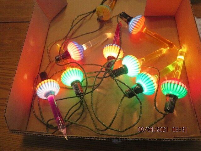 Rare Vintage Noma Christmas Bubble Light C6 Set with Glass Slugs 8 Lite string