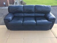 SOLD !!! .................... Black Leather Sofa (Soft Leather) Ex 'Harverys Furniture'