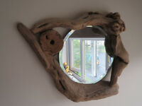 Stylish small round mirror with driftwood frame, handmade crafted artisan. Hall bedroom kitchen bath