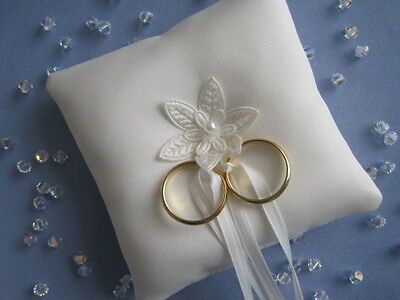 WHITE SATIN BRIDAL WEDDING RING CUSHION SMALL POCKET SIZE WITH STAR FLOWER