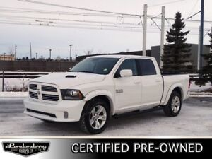 2017 Ram 1500 4WD CREWCAB SPORT Accident Free,  Leather,  Heated