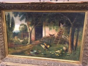 LARGE OIL PAINTING OF A FARM SCENE FOR SALE(NO SCAMMERS)