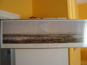 FRAMED PANORAMIC VANCOUVER VIEW PRINT 50''X16''