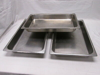 3 Full Size Hotel Pans Chafer Dishes 20-78x12-78x2-12 Commercial Kitchen