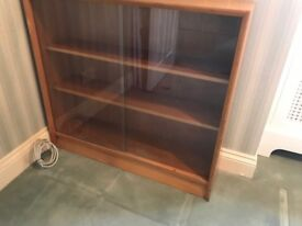 antique solid wood glass doors book case / shelf