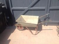 Galvanised wheelbarrow with hard wheel