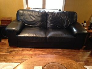 Black Leather 2 pc Sofa and Chair set